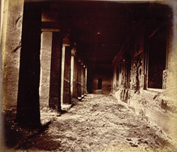 View from the right looking along interior of verandah of Buddhist Vihara, Cave IV, Ajanta